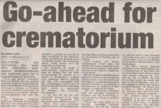 CHATTERIS CREMATORIUM - Fenland Citizen (Click to download PDF Article (1MB)...